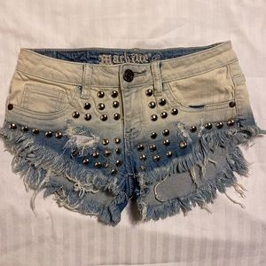 Studded Ripped Distressed Denim Booty Shorts S